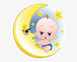baby and boy on moon cartoon clip