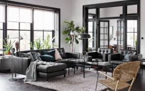 ikea white living room furniture. A Black, Beige And White Living Room With Black Leather Sofa Chaise Longues Ikea Furniture S