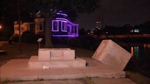 Boathouse Row Eagles Lights Flipboard Viking Statue At Boathouse Row Toppled Sent Into