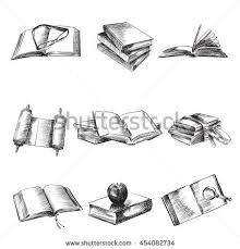 books sketch vector ilration set open old books notebooks gles apple