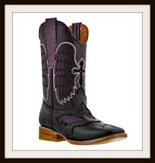 embroidered angel winged black crosses on distressed genuine leather cowgirl boots