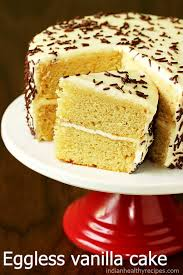 Eggless Vanilla Cake Recipe Swasthis Recipes
