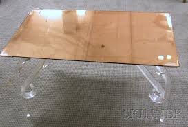 art deco peach mirror glass top and lucite coffee table