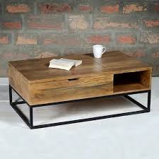 end table. Suri Industrial Modern Coffee Table With Storage In Mango Wood \u0026 Metal Detail End