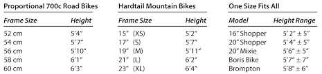 Bicycle Frame Size Chart Hybrid Paradise Cycles