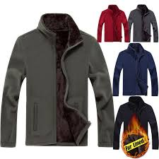 details about mens thermal fur lined fleece jacket coat outdoor stand collar sweatshirt hoo