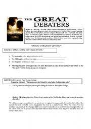 the great debaters worksheet humorholics classroom  the great debaters worksheet humorholics