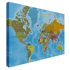 High Quality World Map World Map Highest Detail Online Hi Res Quality Canvas Wall Art Pictures 48 X 30 Inches