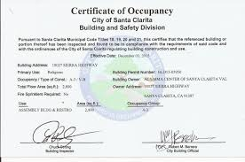 city of santa clarita issues the certificate of occupancy for al certificate of occoupancy