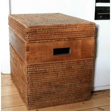 varnished rattan storage box with lid