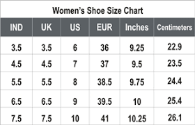 Women S Footwear Size Chart India 27 Efficient Ladies Boot Size Chart