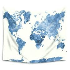 painting watercolor blue world map wall tapestry hanging polyester fabric art tapestries home decor blanket old