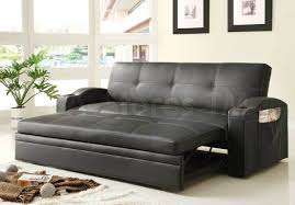 Novak Black Leather Sofa Bed with Pull Out Trundle ...