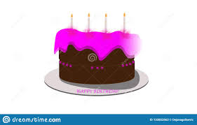 Happy Birthday Cake With Pink Colors Stock Illustration