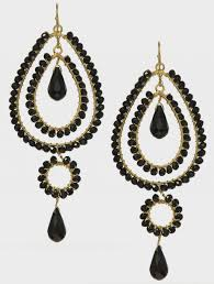 image of black chandelier earrings with crystals