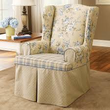 Living Room Chair Cover Accessories Wing Back Chair Covers In Exquisite White Fabric