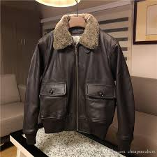 g1 air force flight coat men s tooling cotton leather jackets with detachable wool collar soft goat genuine leather