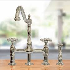 home bridge style kitchen faucet with metal cross handles