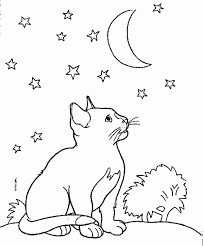 Small Picture Moon and Kitten Coloring Page Color Book