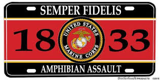Us Marines Mos 1833 Amphibian Assault License Plate
