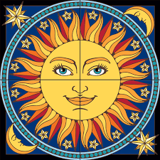 12 X 12 Decorative Tiles 60x60 Mural Celestial Sun Decorative Art Tile Hand N Hand Designs 25