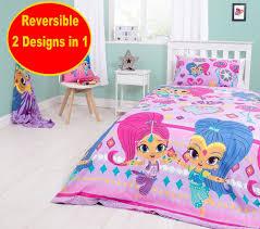 new shimmer and shine single duvet quilt cover set girls kids pink purple bed jpg