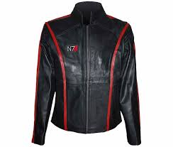 n7 mass effect black leather jacket