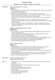 Example Of Social Work Resumes Social Work Assistant Resume Samples Velvet Jobs