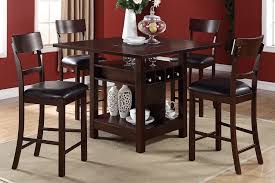 poundex 5pcs wooden counter height dining table set f2347 f1207 intended for high dining chairs designs 5