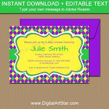 Invitation Downloads Adorable Mardi Gras Baby Shower Invitation Download Digital Art Star