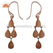 18k rose gold plated sterling silver teardrop chandelier earrings for womens