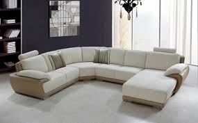 Unique Sectional Leather Sofa Design With Comfy Accent Pillows Feat