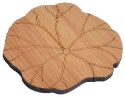 set of 2 lotus leaf shape bamboo drink coasters wooden coasters asian coasters by blancho bedding