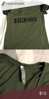 gym workout shirt nwot nwot army green workout shirt never been worn size