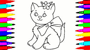 Cat Drawing And Coloring Videos For Children L Cute Cat With A Bow Drawing Colour Games L