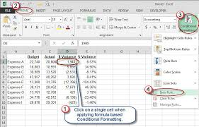 How To Use Excel For A Budget Microsoft Excel Use Color To Identify Variances Accountingweb