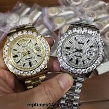 Men And Watch Face Iced Date Replica Out Rolex Bezel Day