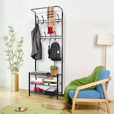 Shoe Rack And Coat Hanger HOMFA Fashion Heavy Duty Garment Rack with Shelves 100Tier Shoes Rack 79