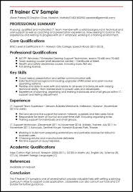 Sample Curriculum Vitae For Job Application It Trainer Cv Sample Myperfectcv