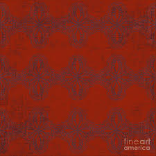 Red Damask Digital Art by Priscilla Wolfe