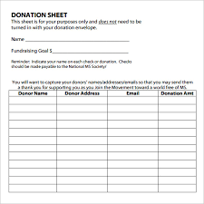 Sample Donation Sheet 9 Documents In Pdf Word