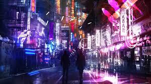 Anime Neon City 4K Wallpaper HD (Page 3 ...