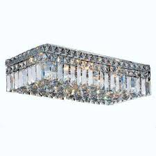 cascade 4 light polished chrome with clear crystal flushmount