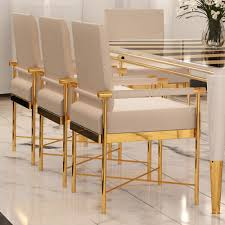 high end dining chairs. Chic High End Designer Polished Brass Veneered Dining Set Chairs