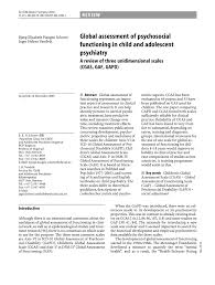 Pdf Global Assessment Of Psychosocial Functioning In Child