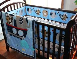 monkey crib set embroidery monkey elephant navigation blue sea whale baby bedding set quilt per skirt