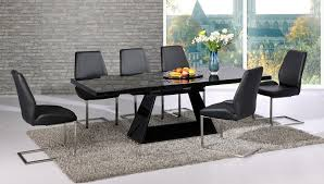 extendable black glass high gloss base dining table and 8 chairs decor of dining tables black