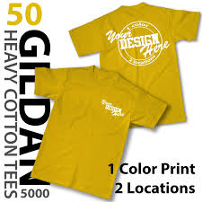 Gildan 5000 Color Chart 2018 50 Custom Printed Gildan Heavy Cotton Ts 1 Color Print 2 Locations