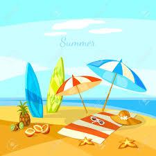 summer beach cartoon towel umbrella starfish surf boards vector ilration stock vector 60485746