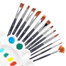 ohuhu nylon hair art paint brush set for watercolor acrylics oil painting supplies bonus a color palette